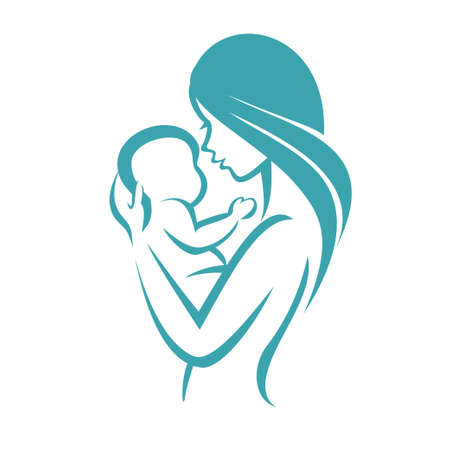 Mother and baby icon, stylized vector symbol Illustration