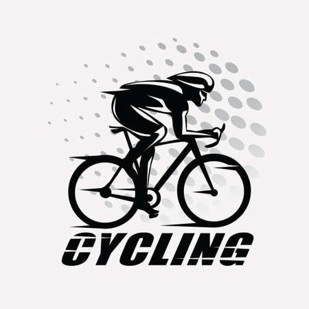Simbolo stilizzato della corsa di riciclaggio, siluetta delineata del ciclista di vettore Archivio Fotografico - 84438754