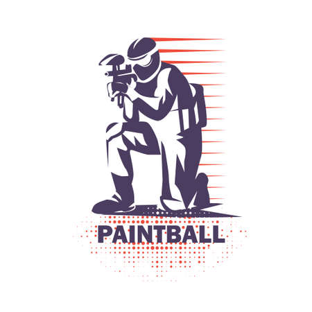 paintball speler gestileerde vector symbool, logo of embleem sjabloon Stock Illustratie