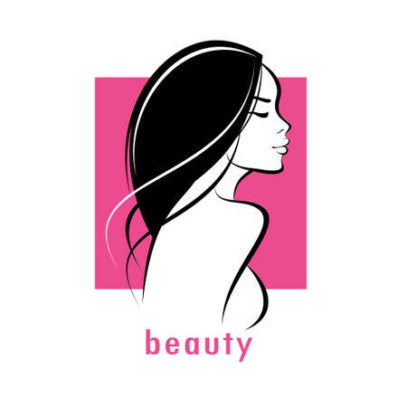 beautiful woman stylized vector silhouette, haircut outlined symbol  イラスト・ベクター素材