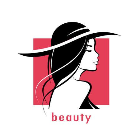 beautiful woman in hat stylized vector silhouette