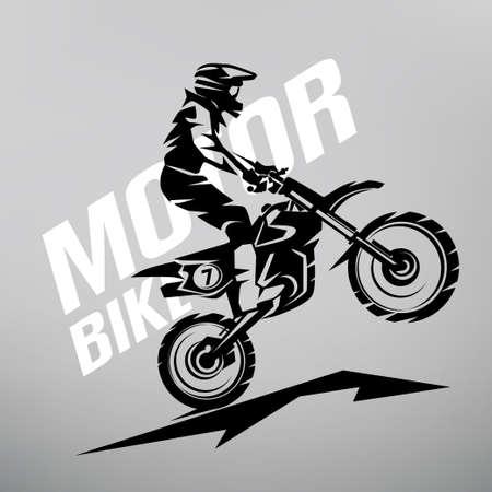 Motocross gestileerde vector symbool, ontwerpelementen voor logo sjabloon