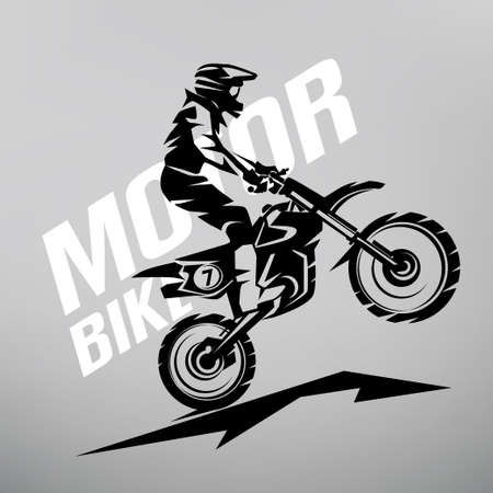 motocross stylized vector symbol, design elements for logo template