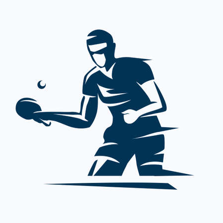 table tennis player stylized vector silhouette, ping pong logo template Иллюстрация