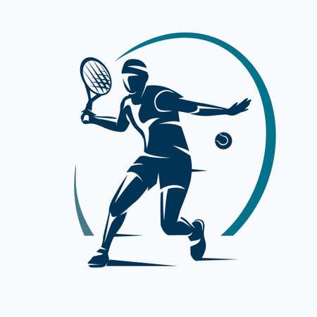 Jugador de tenis estilizado vector silueta, emblema o plantilla de logotipo Foto de archivo - 84438765