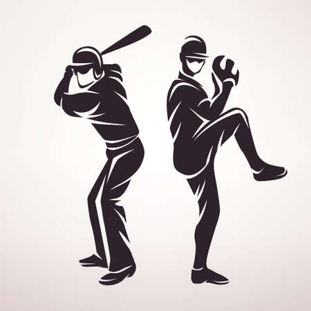 baseball players symbol, stylized vector silhouette