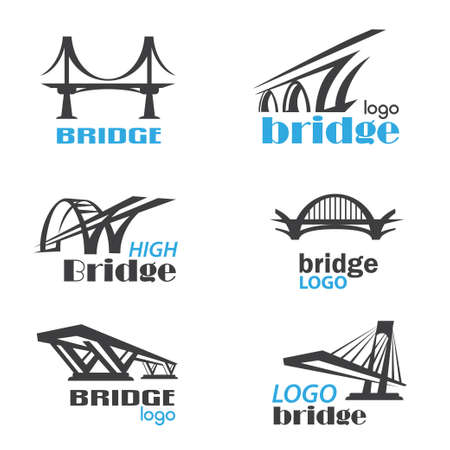 bridge symbol logo template collection 免版税图像 - 84438787