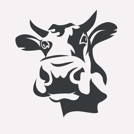 Holstein cow portrait stylized symbol.
