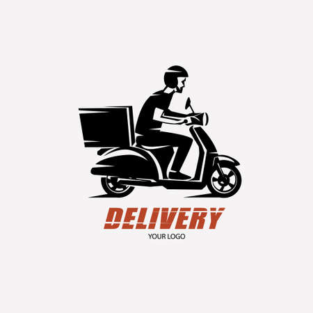 delivery service: Scooter delivery silhouette template.