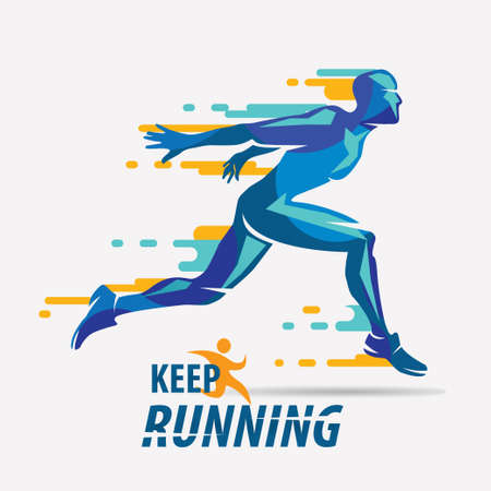 running man vector symbol, sport and competition concept background Zdjęcie Seryjne - 87115248