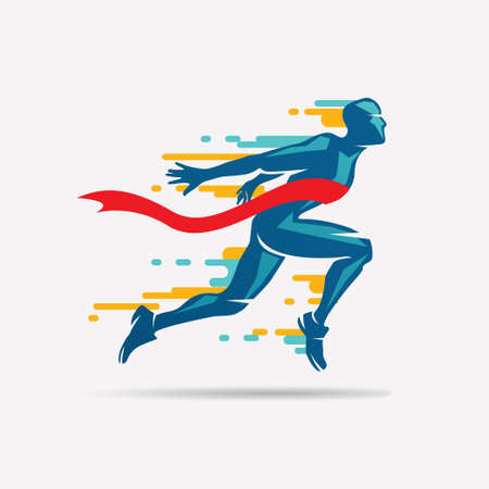 running man vector symbol, sport and competition concept background Фото со стока - 87115251
