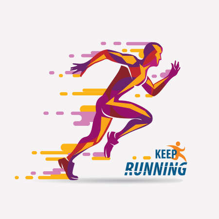 running man vector symbol, sport and competition concept background Banco de Imagens - 87115252