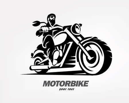 biker, motorcycle grunge vector silhouette, retro emblem and label Illustration