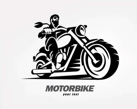 biker, motorcycle grunge vector silhouette, retro emblem and label Vettoriali