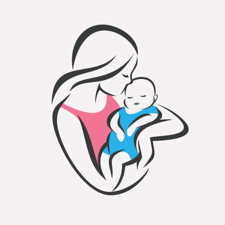 mother and baby stylized vector symbol, mom kiss her child logo template