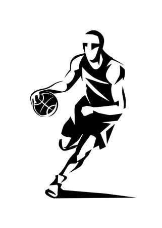 Jugador de baloncesto estilizado silueta vector, plantilla de logotipo en el estilo de dibujo esbozado.