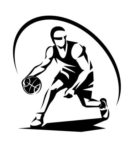 Basketball player stylized vector silhouette, logo template in outlined sketch style.