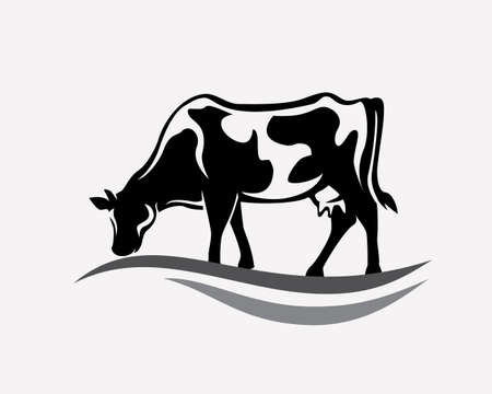Feeding cow stylized vector silhouette.