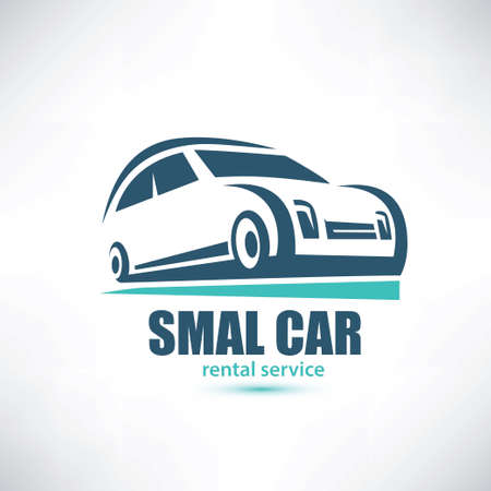 stylized symbol of midget car, micro automobile logo template Illustration