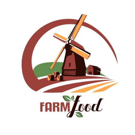 windmill stylized vector symbol, farm food emblem or logo template Stock Illustratie