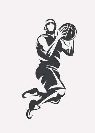 Joueur de basket-ball sautant silhouette vecteur stylisée, modèle d'icône dans le style de croquis décrit.