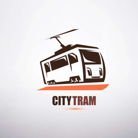 stylized cartoon tram symbol, city transport logo template