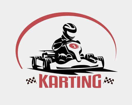 Símbolo de vector de raza karting, plantilla de logotipo o emblema