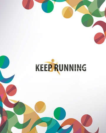 running people set of stylized icons and silhouettes, sport and activity  background