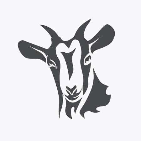 Visage de chèvre noire symbole vecteur stylisé, concept d'agriculture