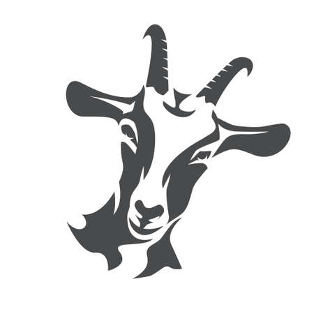 Black goat face stylized vector symbol, agriculture concept