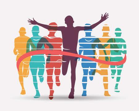 Running athletes symbol, sport and competition concept 版權商用圖片 - 98272916