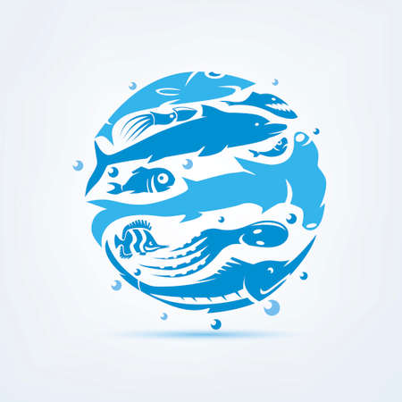 Blue planet sealife stylized vector symbol, set of icons and symbols