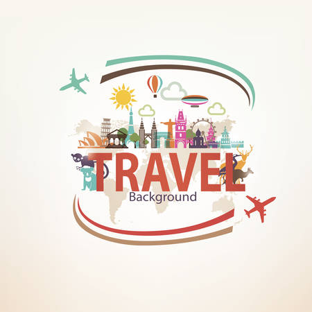 Around the world travel background, landmarks and national symbols silhouettes icons set