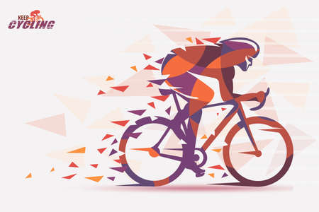 Cycling race stylized backgrond with motion color effects of tirangle splints