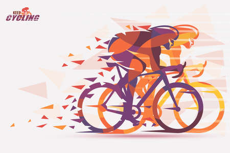 Cycling race stylized background with motion color effects of triangle splints in orange and purple color.