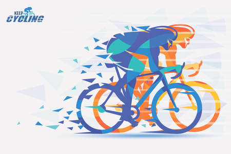 Cycling race stylized background with motion color effects of triangle splints in orange and blue color. Stock Illustratie