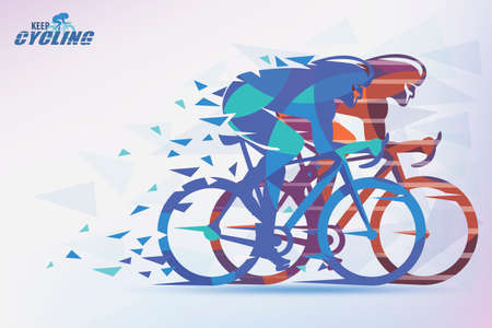 Cycling race stylized background with motion color effects of triangle splints in blue, green, violet and orange colors. Stock Illustratie