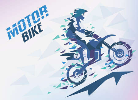 Motorbike with triangle splints, motocross stylized vector background.