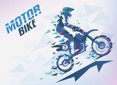 Motor met driehoeksspalken, motocross gestileerde vectorachtergrond.