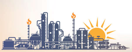 Chemical, petrochemical or processing plant, heavy industry landscape, industrial background Banco de Imagens - 98464744