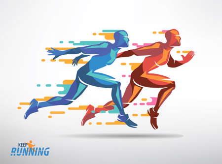 Running athletes vector symbol, sport and competition concept background Vettoriali