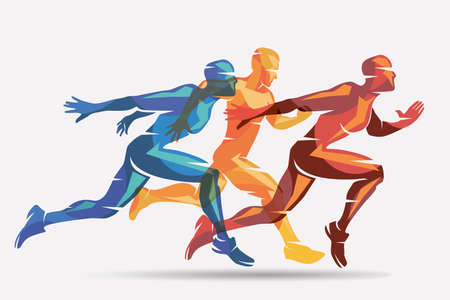 Laufende Athleten auf rotem, gelbem und blauem Farbvektorsymbol-, Sport- und Wettbewerbskonzepthintergrund.