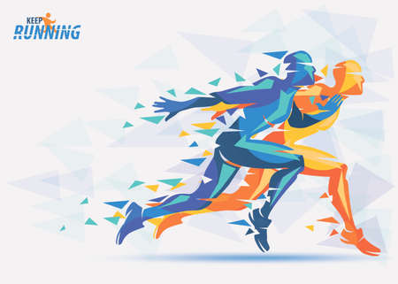 Running athletes in orange and blue color, sport and competition background with motion color effects of triangle splints