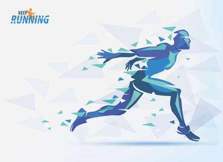 Running blue silhouette of man, sport and competition background with motion color effects of triangle splints