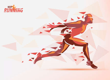 Running man in red color, sport and competition background with motion color effects of triangle splints