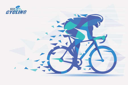 Cycling race stylized background with motion color effects of triangle splints in blue and green colors.