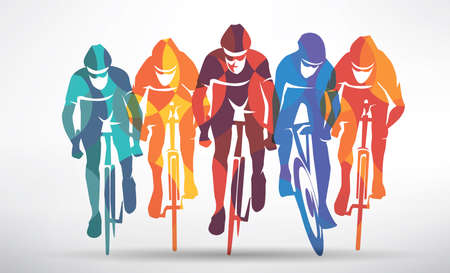 cycling race stylized background, cyclist vector silhouettes Stok Fotoğraf - 102255998
