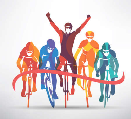 cycling race stylized background, cyclist vector silhouettes Stok Fotoğraf - 102202016