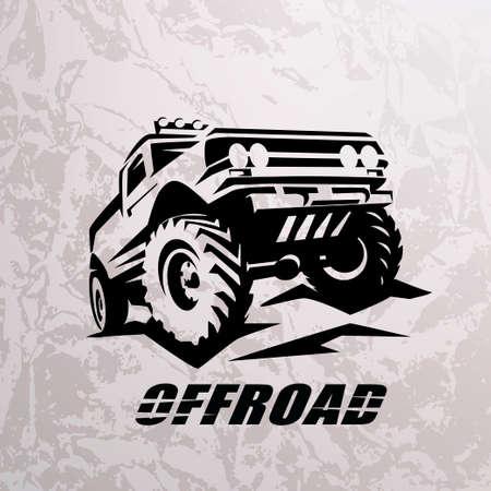 modèle monochrome de voiture tout-terrain suv pour étiquettes, emblèmes, badges ou logos Logo