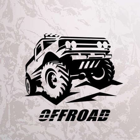 Plantilla monocromática de coche todoterreno suv para etiquetas, emblemas, insignias o logotipos Logos